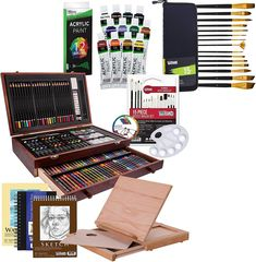 Wood Box Drawing Set Includes: 24 Colored Pencils, 24 Oil Pastels, 24 Watercolor Cakes, 60 Wax Crayons, 3 Mixing Trays, 2 Drawing Pencils, 2 Paint Brushes, Sharpener, Sanding Block, and Eraser Kit also includes Solid Solana Adjustable Wood Desktop Table Easel with Drawer, Field Sketch Book, Watercolor Pad, Drawing Sketch Pad, 15-Piece Brush Set, 10-Well Plastic Palette & Color Mixing Wheel #acrylic #watercolor #drawing #sketch #art #artsupplies #boxset #coloringpencil #pencil #pencilart