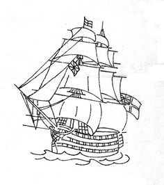 Hand Embroidery Patterns, Embroidery Applique, Cross Stitch Embroidery, Colouring Pages, Adult Coloring Pages, Sailboat Art, Stencils, Ship Drawing, Laser Art