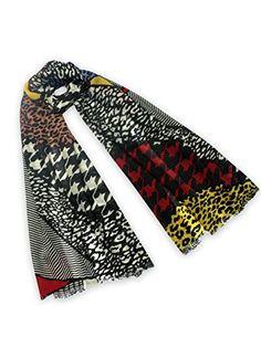 Dahlia Womens 100 Merino Wool Fashion (Community) Scarf  Colorful Pattern Patchwork