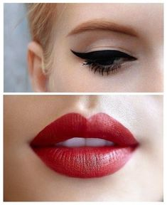 Old hollywood style makeup: Bright red lips and black liquid liner/cat-eye