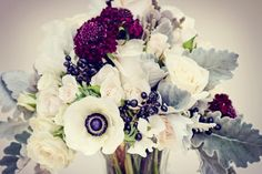 White-Grey-Black-Neutral-Anemone-Scabiosa-Privet-Floral-Arrangement-Oleander-New Jersey-Bucks-County-Wedding-Event-Florist