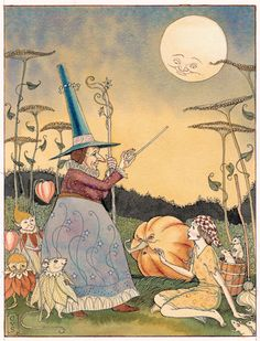 She struck it with her wand, and the pumpkin was instantly turned into a fine coach, gilded all over with gold.