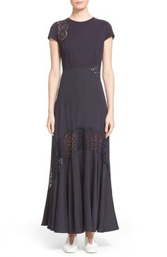 Stella McCartney 'Lara' Broderie Anglaise Detail Cap Sleeve Dress available at #Nordstrom