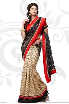 Black Cream Jacquard Net Saree  Design No. DMV7555 Price:- £45.00 Dress Type:	Saree Fabric:	Jacquard with Net Colour:    ​         	Black with Cream Embellishments: 	Embroidered, Plain Pallu For More Details:- http://www.andaazfashion.co.uk/black-cream-jacquard-net-saree-with-orange-red-jacquard-blouse-dmv7555.html