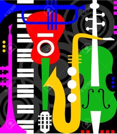 Illustration about Abstract colored music instruments on black, full scalable graphic included Eps and 300 dpi JPG, change the colors as you like. Illustration of keyboards, element, concert - 14874389 Music Painting, Art Music, Kids Music, Musical Instruments Drawing, Jazz Instruments, Musik Illustration, Music Drawings, Beatles Songs, Music Humor