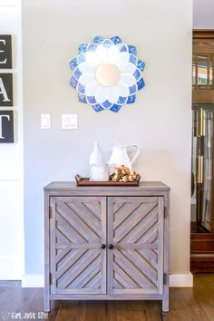 DIY Chevron Storage Cabinet inspired by Pottery Barn Irene Cabinet -