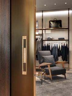 View full picture gallery of Brioni Flagship Store Milano Retail Interior, Interior And Exterior, Interior Design, Retail Store Design, Lounge Areas, Commercial Interiors, Door Design, Windows And Doors, Interior Architecture