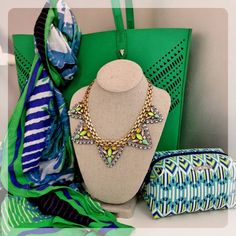 Fillmore Tote with our Spring Greens Cosmetic Pouf and Union Square Scarf and the Palmia Necklace! Love the Kelly Green!