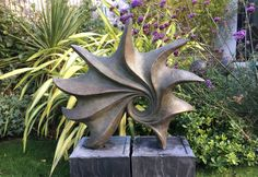 Ocean sculpture, garden sculpture, abstract, modern, indoor sculpture, bronze, Kara Sanches