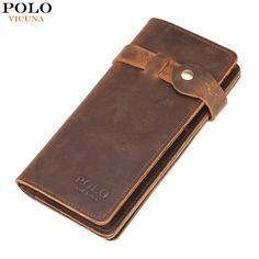 VICUNA POLO Vintage Hasp Open Genuine Leather Wallet High Large Capacity Unique Decor Crazy Horse Genuine Leather Man Wallet -- View the item in details by clicking the image