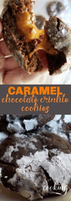 Caramel Chocolate Crinkle Cookies & Video - Moore or Less Cooking Brownie Cookies, Chocolate Crinkle Cookies, Chocolate Crinkles, Chocolate Caramels, Yummy Cookies, Caramel Cookies, Chocolate Chocolate, Homemade Chocolate, Bar Cookies