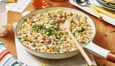 Das Auge isst mit - Die Konfetti-Pfanne mit Nudeln, Hackfleisch und viel Gemüse von MAGGI ist bei Kindern sehr beliebt.