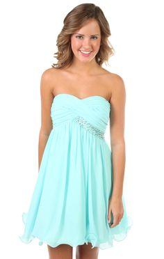 strapless short prom dress with rhinestone bust trim