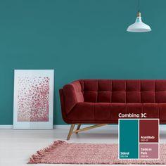 Usa nuestro Sistema Combina 3C y atrévete a combinar colores intensos con las texturas de tus muebles. ¡Te encantará! Bedroom Colour Schemes Green, Teal Wall Colors, Room Wall Colors, Teal Walls, Bedroom Colors, Exterior Paint Colors For House, Paint Colors For Home, Second Live, House Painting