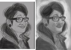 """WIP (work in progress) caricature drawing I'm doing on my breaks from commission work. first caricature of a woman I think. Drawing woman was always harder for me I think because of the """"need"""" of flawlessness. drawing a man or boy I felt a mistake can easily be mistaken for some masculinity. Hope to Finnish it soon. - http://ift.tt/1HQJd81"""