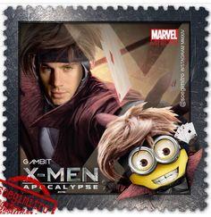 X-Men: Apocalypse ~ Gambit Minions Cartoon, Despicable Minions, Minions Quotes, Comic Movies, Marvel Movies, Famous Superheroes, Days Of Future Past, Fantasy Comics, 2 Movie