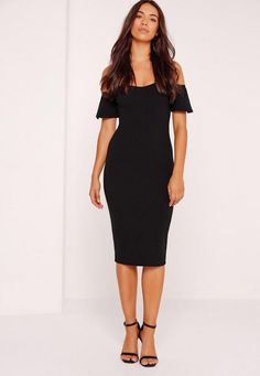 Bardot dresses are what every Missguided girls wardrobe is craving this season! In a standout shade of black, our fave figure flattering bodycon fit and frill detailing, this midi dress is perfect! Wear with a pair of barely there heels and...