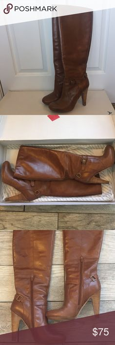 Aldo Boots Aldo Boot style: Morono. Comes with box! 4.25 inch heel, 14 inch shaft height, 13.5 inch circumference and round toe. good structure, stands up on its own. Partial zipper makes them easier to take off. Very comfortable. Cognac color. Aldo Shoes Heeled Boots