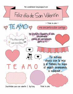 20 Valentine's Day Printables in Spanish Valentines Gifts For Boyfriend, Valentines Diy, Boyfriend Gifts, Love Phrases, Love Words, Diy And Crafts, Paper Crafts, Valentine's Day Printables, Planner