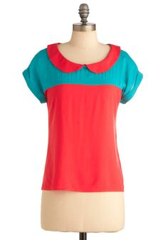adorbs color-blocking and peter pan collar silhouette. want.