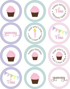 Cupcake Stickers + Circle Tags by blush printables, via Flickr