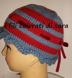 Cappello bimbo/a in lana a righe lavorato di ifilicoloratidisara