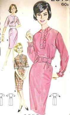 1960s Misses Tab Neckline Dress vintage Sewing by MissBettysAttic, $10.00