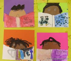 """Self Portraits of Readers  (Great art activity at the beginning of the year to help establish a reading """"identity."""")"""