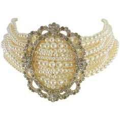 Chanel 15a Victorian Style Pearl And Rhinestone Choker Necklace ($1,375) ❤ liked on Polyvore featuring jewelry, necklaces, multiple, multi strand necklace, white pearl necklace, multi chain necklace, choker necklace and chanel necklace