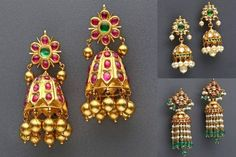 Latest Collection of best Indian Jewellery Designs. Gold Jhumka Earrings, Jewelry Design Earrings, Gold Earrings Designs, Ear Jewelry, Necklace Designs, Bridal Jewelry, Gold Jewelry, Gold Designs, Labret Jewelry