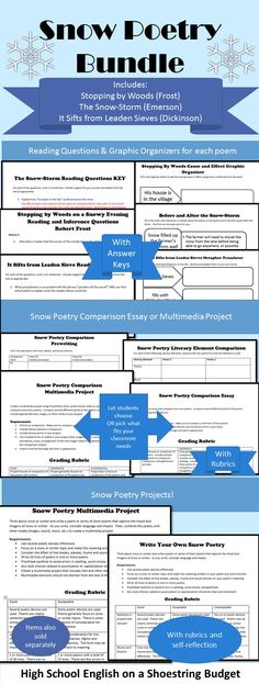 """A set of snow poem activities. Includes reading activities for """"Stopping by Woods on a Snowy Evening"""" (Robert Frost), """"The Snow-storm"""" (Ralph Waldo Emerson), and """"It Sifts from Leaden Sieves"""" (Emily Dickinson.) Also includes a snow poem comparison project with choice of essay or multimedia project and a Write Your Own Snow Poetry Project that includes an optional multimedia project. Snow poetry for the secondary ELA, middle school, or high school English class."""