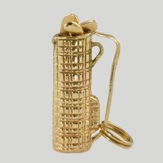Vintage 14K Gold Movable Charm for Bracelet - Golf Clubs, 1940s