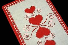 SWEDISH Design Christmas Hearts Table Runner - Hand Printed Sweden Scandinavian