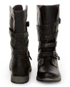 6ea3b4d77d5 Madden Girl Raszcal Black Slouchy Belted Combat Boots