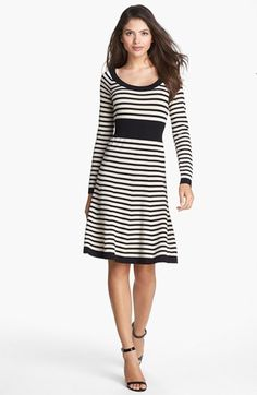 Striped sweater dress..great for fall! #fallinspiration