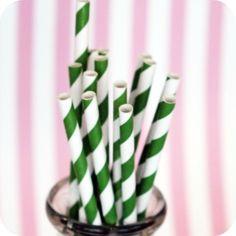Bake It Pretty - Watermelon Green Stripe Paper Straws