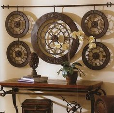 Extra Large International Times Of The World WALL CLOCK Antique Bronze NEW