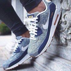 shoes menswear mens shoes paisley air max 90 air max bleue air max liberty perfect fit clothes amazing nike air max 90 nike blue floral shoes