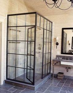 antique steel window as shower door (top row with wire glass?)