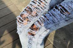 ripped jean and lace tights, i like Tights Under Jeans, Lace Tights, Holey Jeans, Torn Jeans, Love Fashion, Fashion Beauty, Fashion Looks, Womens Fashion, Female Fashion