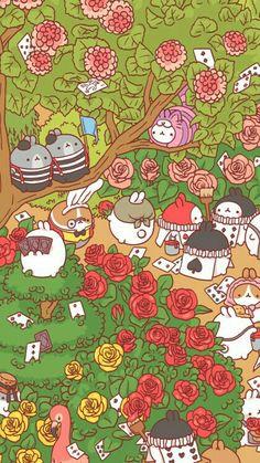 Molang - Alice in Wonderland Wallpapers Tumblr, Cute Wallpapers, Trendy Wallpaper, Kawaii Wallpaper, Kawaii Drawings, Cool Drawings, Doodles Kawaii, Whatsapp Wallpaper, Molang