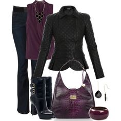 """Leather and Plum"" by averbeek on Polyvore"