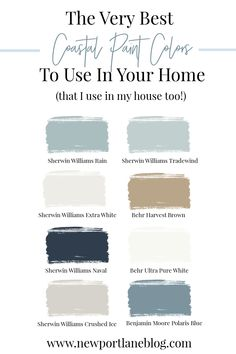 The Best Coastal Paint Colors for Your Home - Newport Lane Cottage Paint Colors, Coastal Paint Colors, Coastal Color Palettes, Farm House Colors, Farmhouse Paint Colors, Blue Paint Colors, Paint Color Schemes, Kitchen Paint Colors, Wall Paint Colors