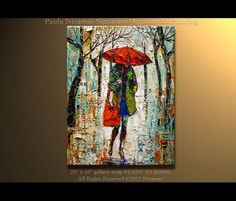Original Oil contemporary landscape painting Raning in the Park by Paula Ready to hang warm color palette