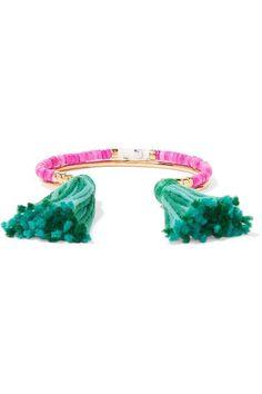 Aurélie Bidermann - Sioux Gold-plated, Stone And Tassel Bracelet - Green - one size