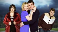 The cast of GAVIN AND STACEY. James Corden (far right) has gained fame in the U.S. for his late night CBS talk show.