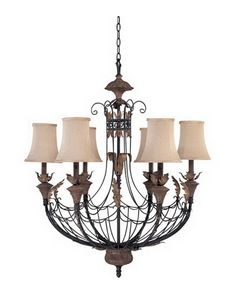 Nuvo Lighting 60-2102 Verdone Collection Six Light Chandelier in Gilded Cage Finish and Maple Wood Shades