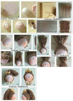 como poner el pelo a una muñeca de trapo: