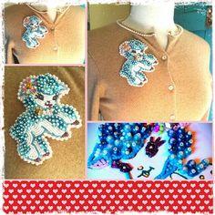 Beaded lamb on cashmere cardigan. Beading fun by create beautiful beads !