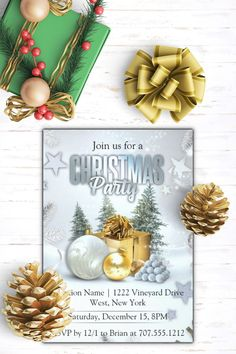 Celebrate the Holiday Season with our Silver and Gold Sparkle Christmas Corporate Party Invitation in modern shades of black and gold. Customize for your special event and personalize to create a one of a kind keepsake you're sure to cherish for years to come. #christmas #handmade #diy #watercolor #photo #family #christmas #idea #cards #stampinup  #christmasphotocard #best #cards